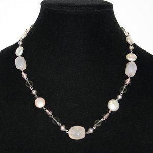 """Pretty silver pearl and rose quartz necklace 18"""""""